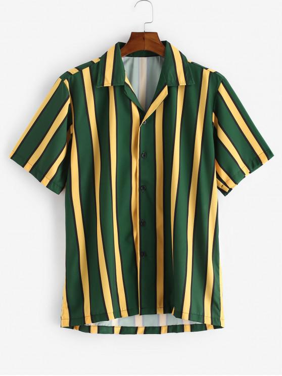 unique Color Blocking Stripes Button Shirt - DARK FOREST GREEN 2XL