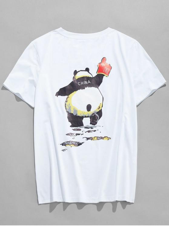 shops Chinese Panda Print Short Sleeves T-shirt - WHITE 2XL