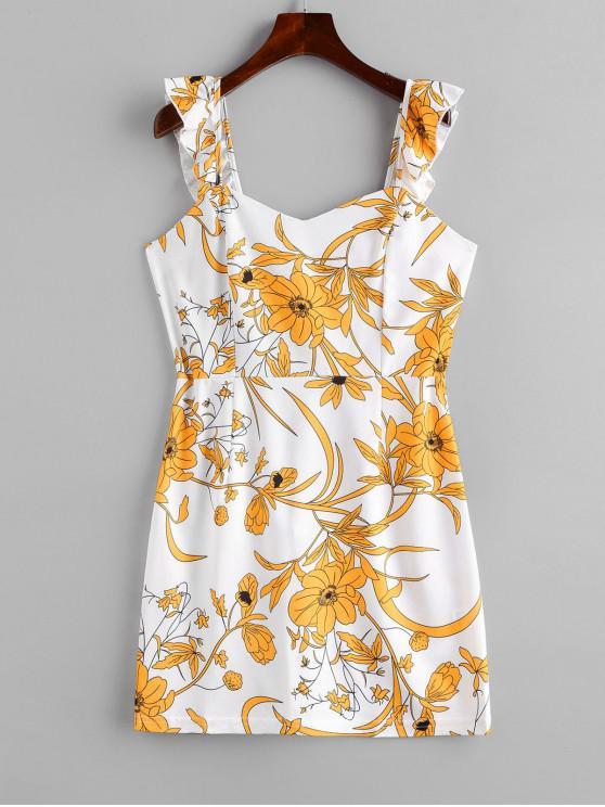 unique Ruffled Straps Floral Mini Dress - YELLOW S