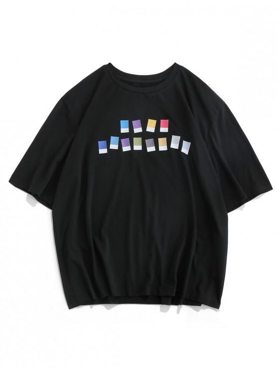 buy ZAFUL Contrast Geometric Print Short Sleeve T-shirt - BLACK 2XL