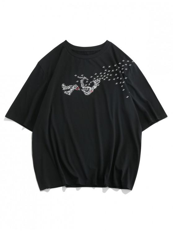 lady ZAFUL Airplane Graphic Print Short Sleeve T-shirt - BLACK 2XL