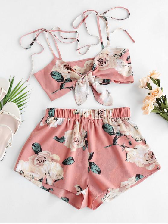 shops ZAFUL Flower Tie Shoulder Knotted Two Piece Set - PINK ROSE M