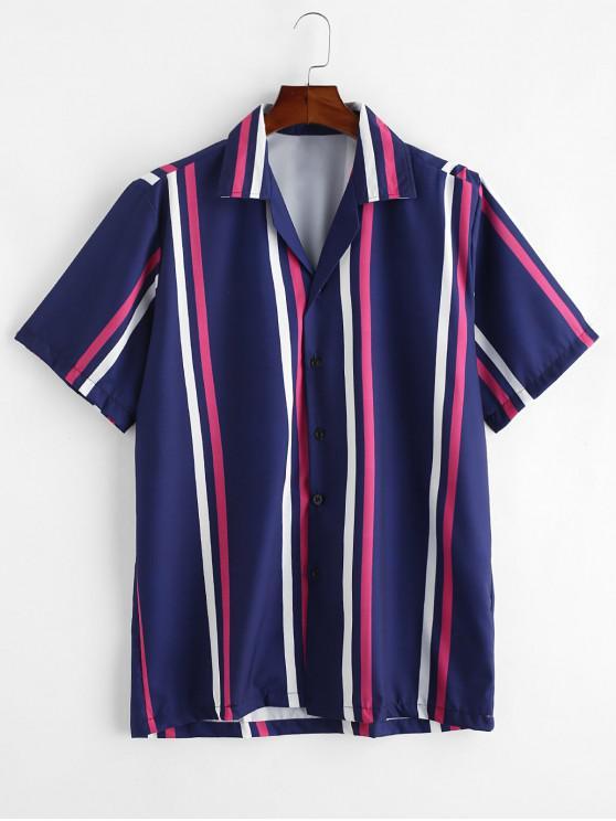Camisa Rayada Manga Corta y Botones - Azul Profundo L
