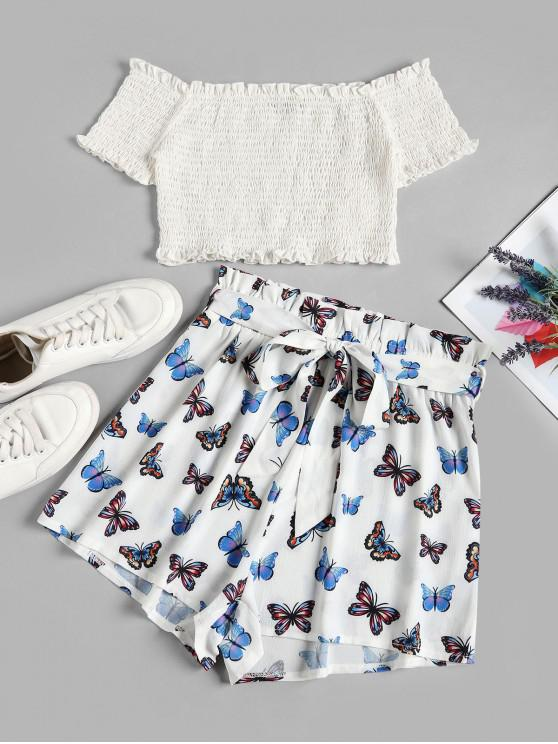 ladies ZAFUL Off Shoulder Smocked Butterfly Print Two Piece Set - WHITE XL