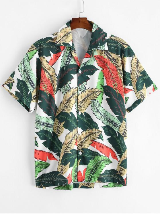 Tropisches Blatt Alloverdruck Knopf Ferien Hemd - Multi-A 2XL