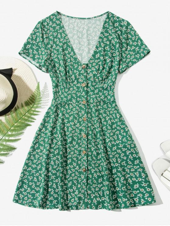 best ZAFUL Ditsy Floral Button Up Mini Dress - MEDIUM SEA GREEN M