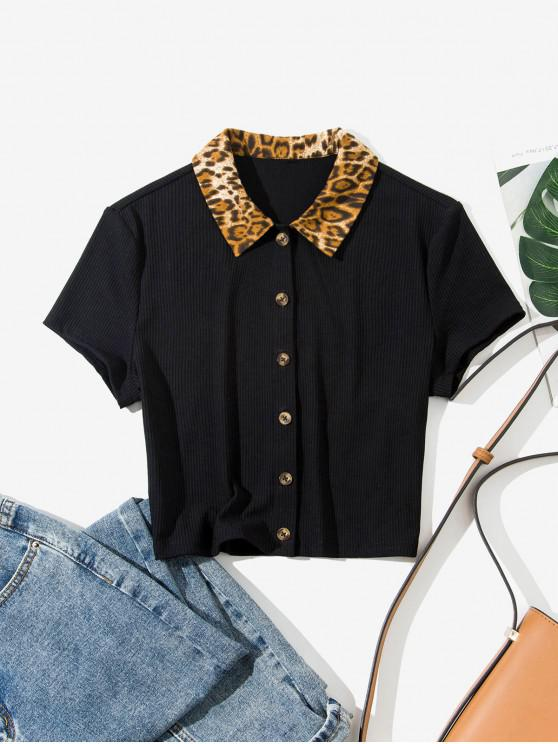 outfits ZAFUL Leopard Collar Buttoned Crop Tee - BLACK S