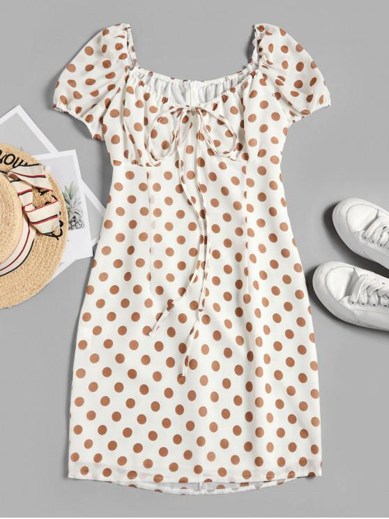 outfits Tied Polka Dot A Line Dress - WHITE S