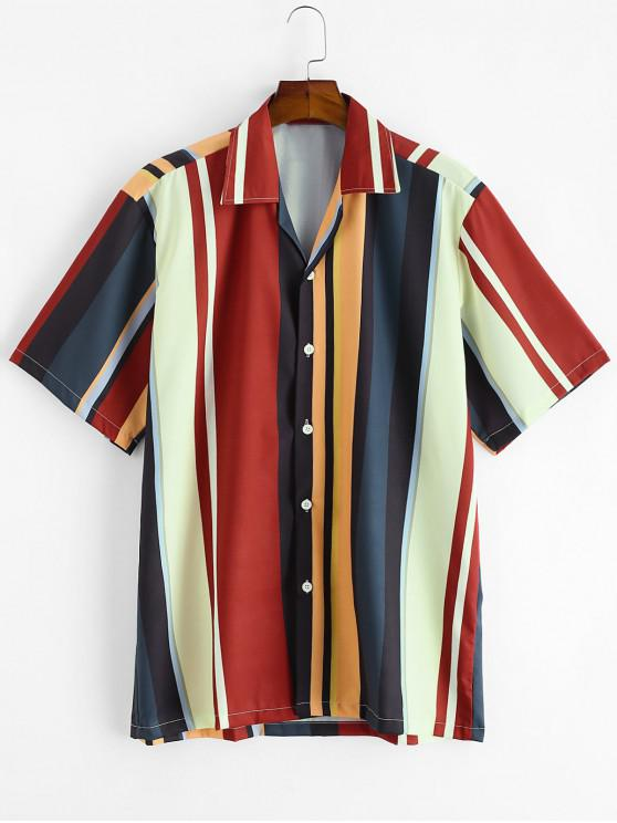 women Colorblock Stripes Button Up Shirt - MULTI-A L