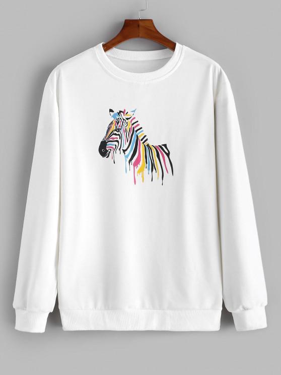 chic Zebra Painting Print Sweatshirt - WHITE M
