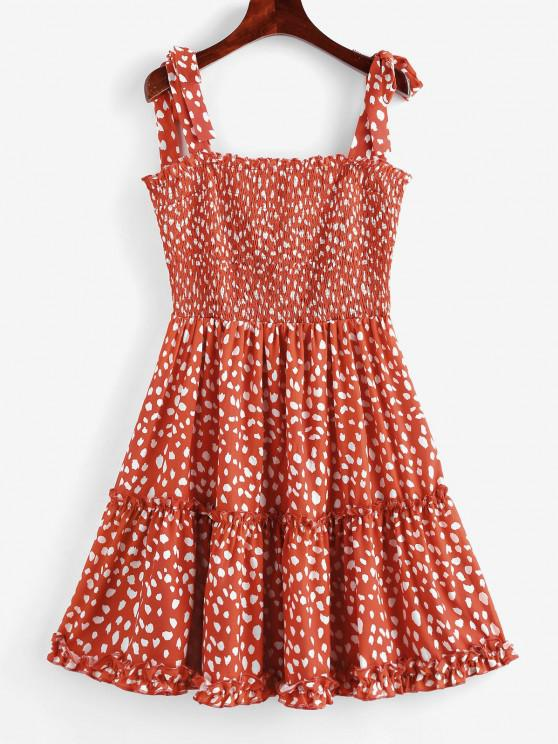 best Printed Tie Shoulder Smocked Mini Dress - CHESTNUT RED L