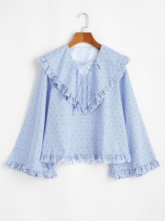 womens Wide Sleeve Wide Collar Blouse - SKY BLUE S
