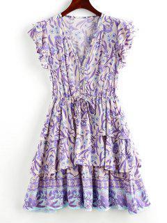 Robe Superposée Fleurie à Taille Nouée Avec Bouton - Pourpre  M