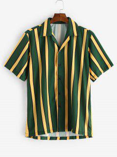 Color Blocking Stripes Button Shirt - Dark Forest Green L