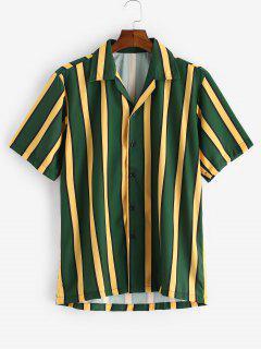 Color Blocking Stripes Button Shirt - Dark Forest Green Xl