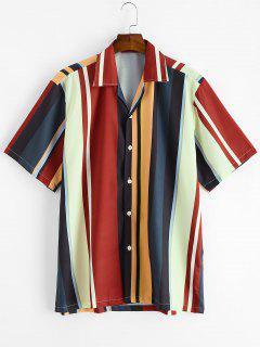 Farbblock Streifen Knopf Hemd - Multi-a M