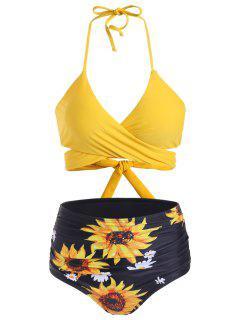 Sunflower High Waisted Ruched Wrap Bikini Swimwear - Sun Yellow S