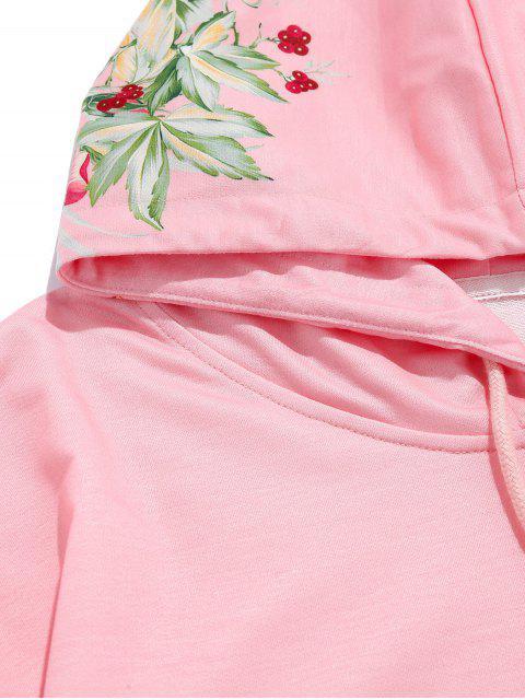ZAFUL花葉印花休閒口袋連帽衫 - 櫻花粉紅色 S Mobile