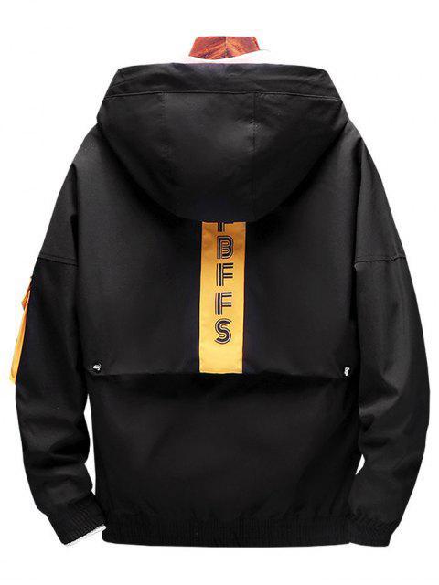 chic Letter Pattern Pocket Decoration Jacket - BLACK L Mobile