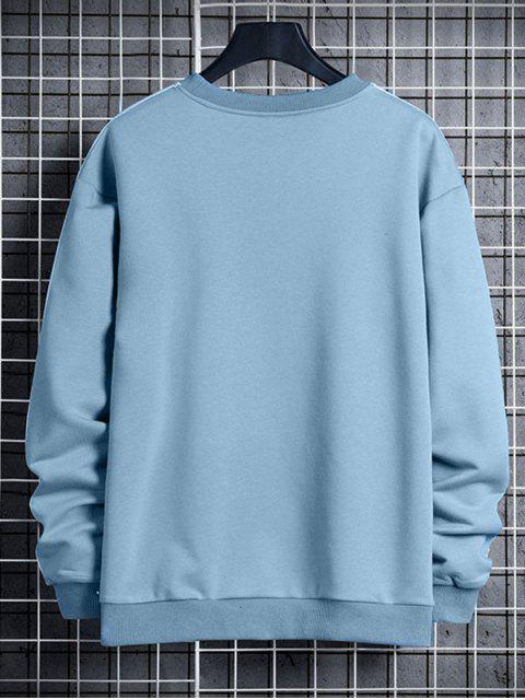 對比條紋字母打印圓領運動衫 - 輕的天藍色 M Mobile