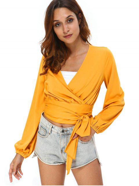 shop Long Sleeve Tie Wrap Top - BEE YELLOW XL Mobile