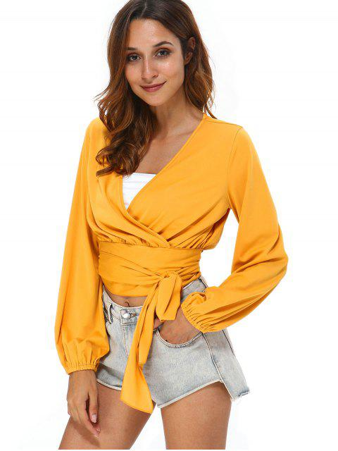 unique Long Sleeve Tie Wrap Top - BEE YELLOW L Mobile