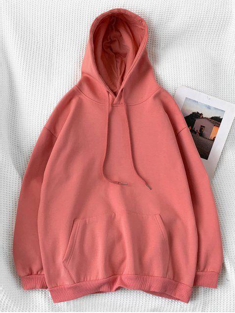 Sudadera con Capucha Casual de Color Sólido - Coral Claro L Mobile