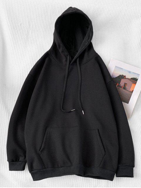 Sudadera con Capucha Casual de Color Sólido - Negro 2XL Mobile