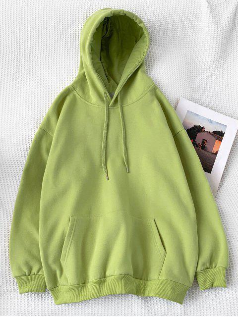 休閒純色小袋連帽衫 - 黃綠色 2XL Mobile