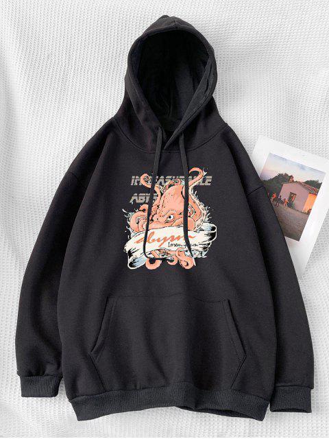 卡通字母打印口袋連帽衫 - 黑色 XL Mobile