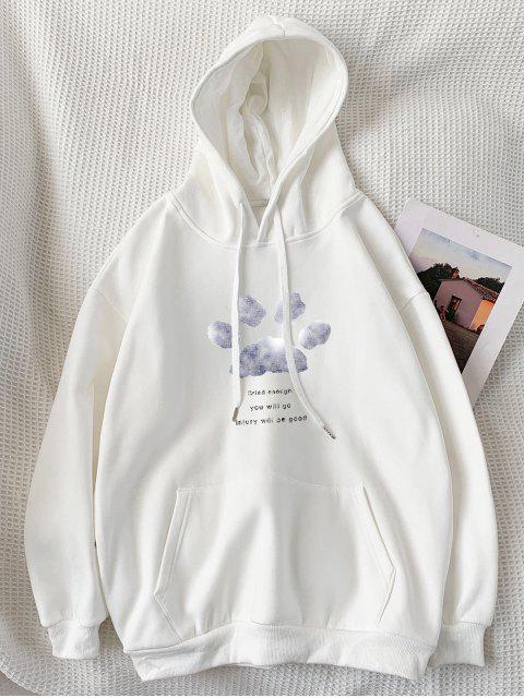 信印跡圖案連帽衫口袋 - 白色 L Mobile