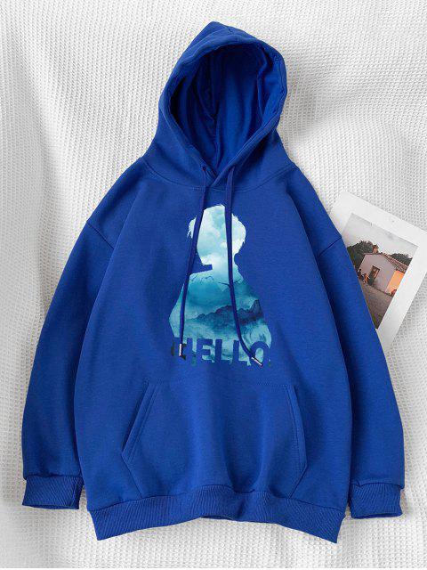 Sudadera con Capucha de Estampado de Letras y Bolsillo - Azul M Mobile
