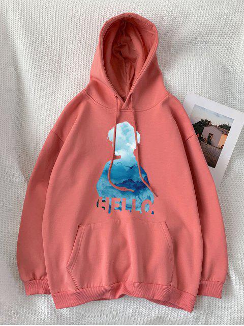 字符印製信口袋連帽衫 - 輕珊瑚 XL Mobile