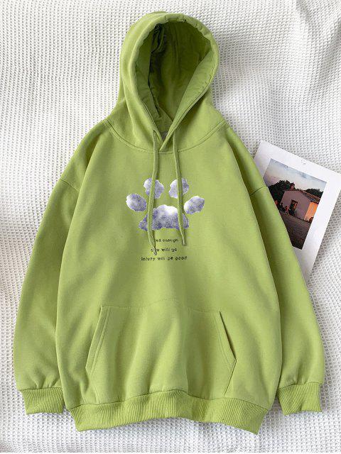 Sudadera con Capucha con Patrón de Letras y Bolsillo - Verde Amarillo XL Mobile