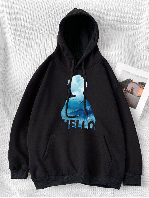 字符印製信口袋連帽衫 - 黑色 2XL Mobile