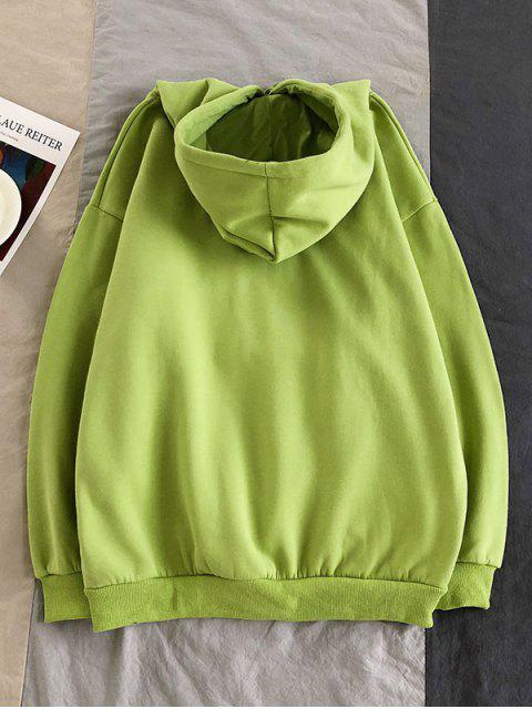 字符印製信口袋連帽衫 - 黃綠色 XL Mobile
