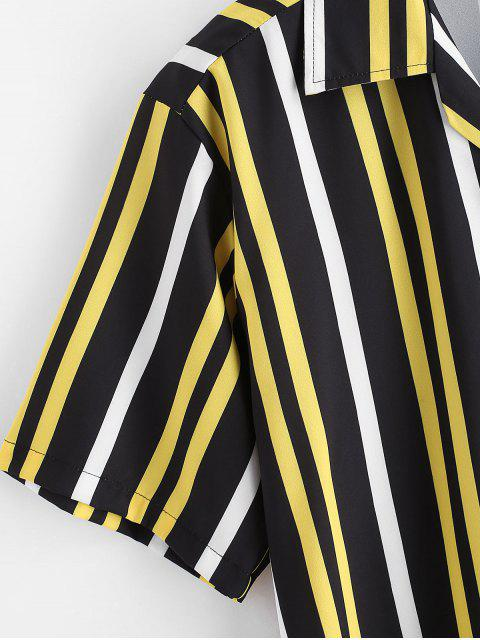 best Button Up Stripes Casual Short Sleeve Shirt - BLACK S Mobile