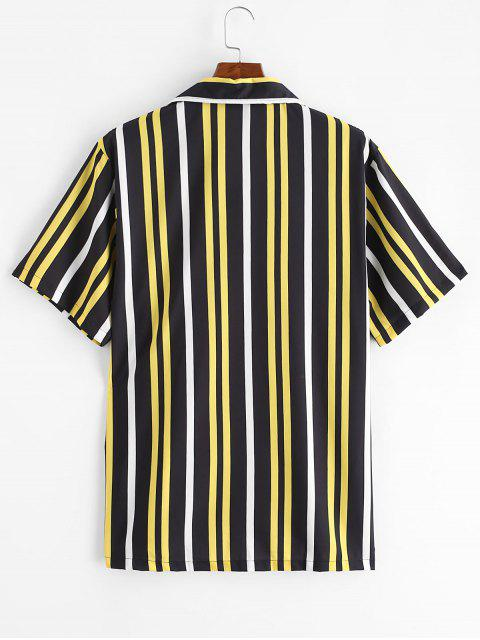 latest Button Up Stripes Casual Short Sleeve Shirt - BLACK 2XL Mobile