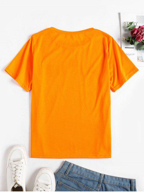 affordable Pineapple Graphic Short Sleeve T-shirt - MANGO ORANGE L Mobile