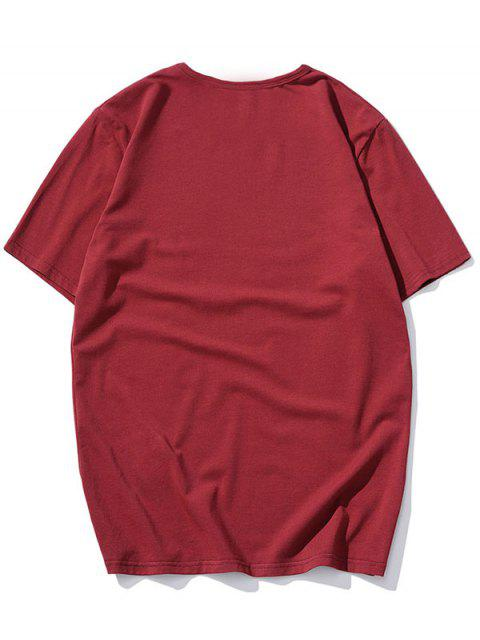 lady Short Sleeve Solid Applique T-shirt - RED L Mobile