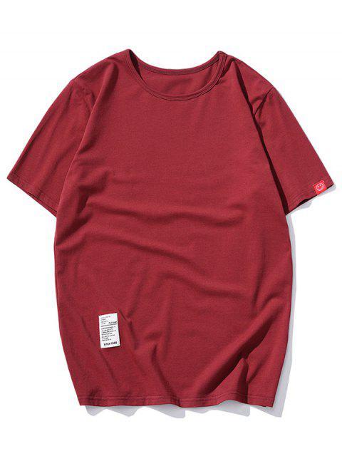 Camiseta con Mangas Cortas de Applique de Color Sólido - Rojo XL Mobile