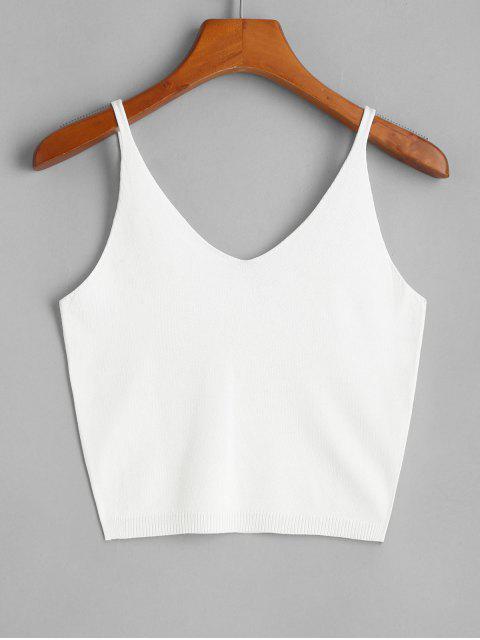 Camiseta Sin Mangas de Punto Monocromático - Blanco Talla única Mobile
