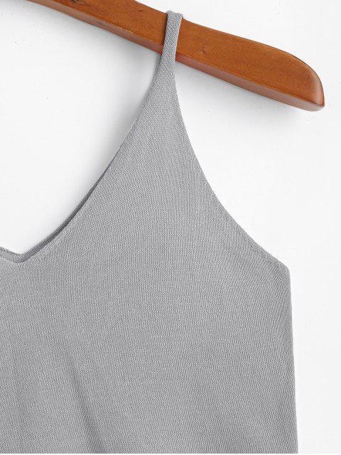Camiseta Sin Mangas de Punto Monocromático - Gris Talla única Mobile