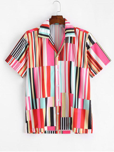 lady Colored Striped Panel Button Short Sleeve Shirt - MULTI-A L Mobile