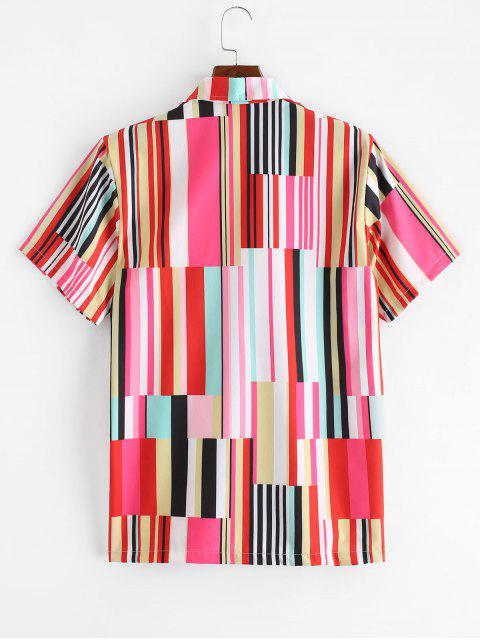 new Colored Striped Panel Button Short Sleeve Shirt - MULTI-A M Mobile