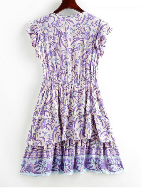 outfit Button Loop Tie Waist Floral Layered Dress - PURPLE M Mobile