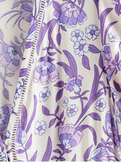 Robe Superposée Fleurie à Taille Nouée avec Bouton - Pourpre  L Mobile