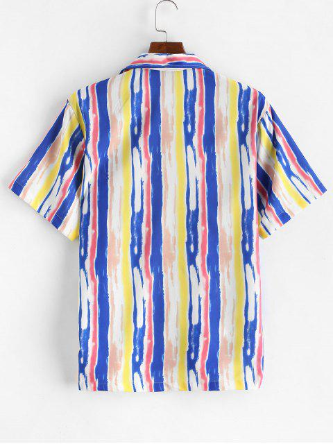 chic Tie Dye Striped Button Short Sleeve Shirt - MULTI-A 2XL Mobile