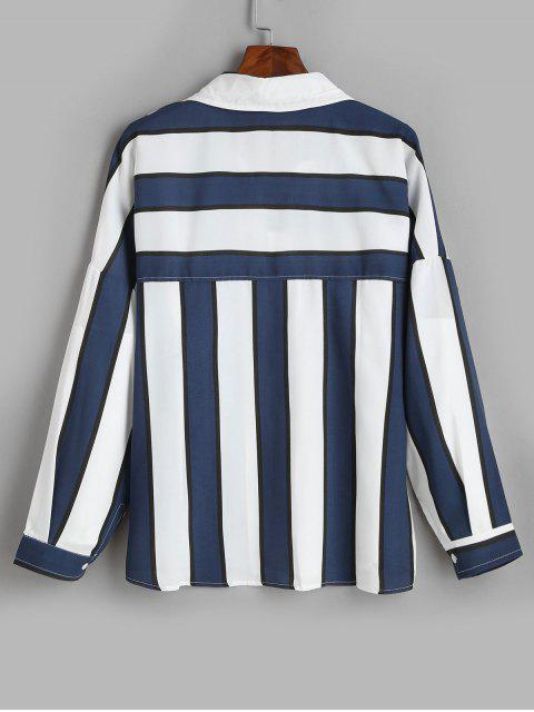 latest Long Sleeves Striped Drop Shoulder Shirt - DEEP BLUE 3XL Mobile