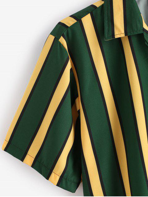 lady Color Blocking Stripes Button Shirt - DARK FOREST GREEN M Mobile